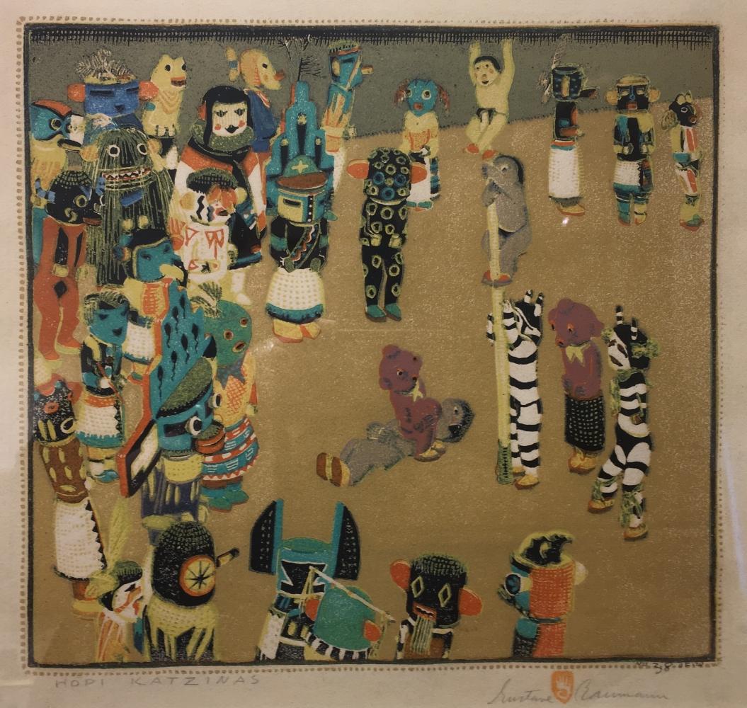 Hopi Katzinas, woodblock print