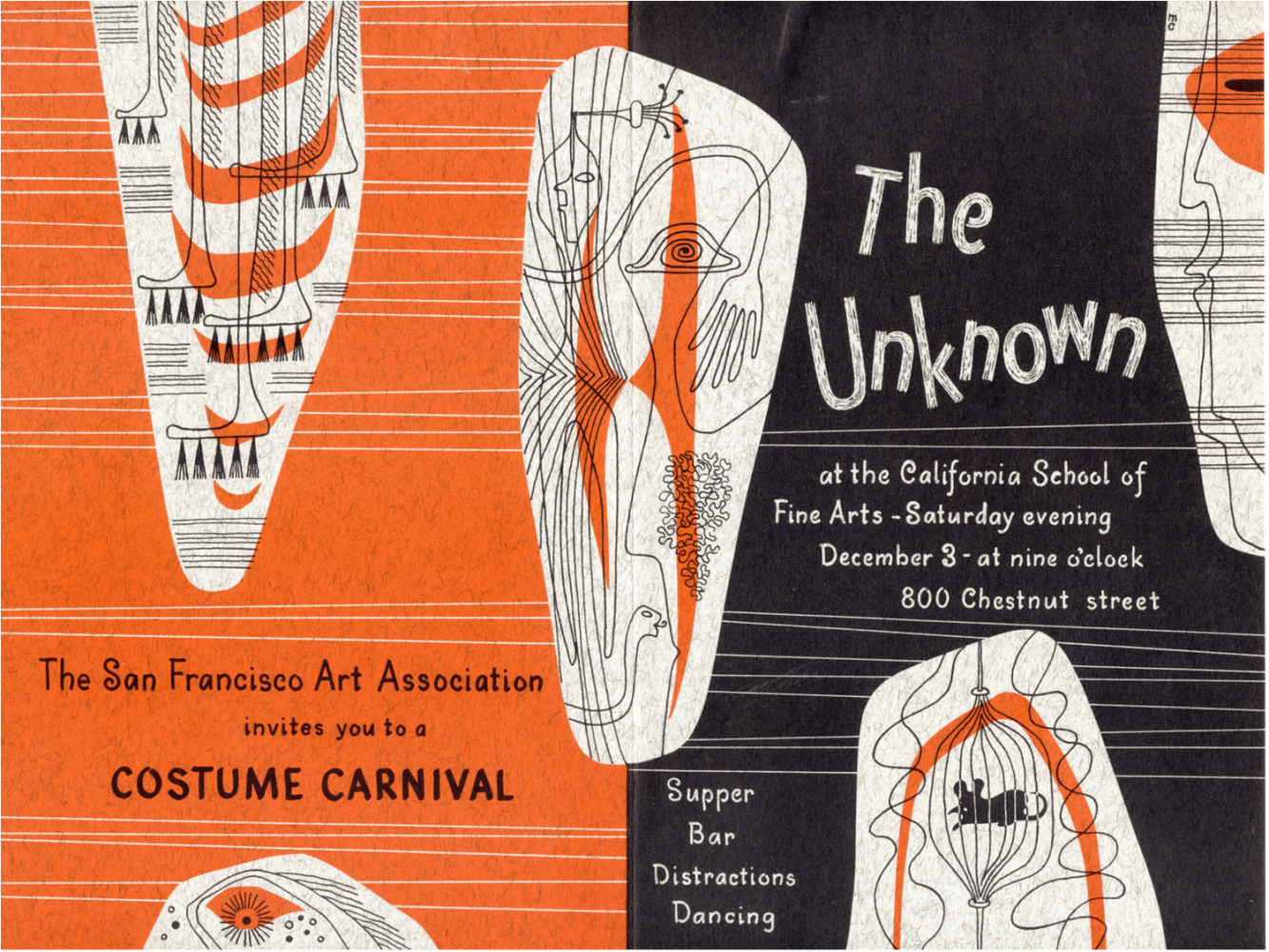 """An invitation for The Unknown party in 1949 which featured, among other events and installations, Clay Spohn's """"Museum of Little Known and Unknown Objects."""""""