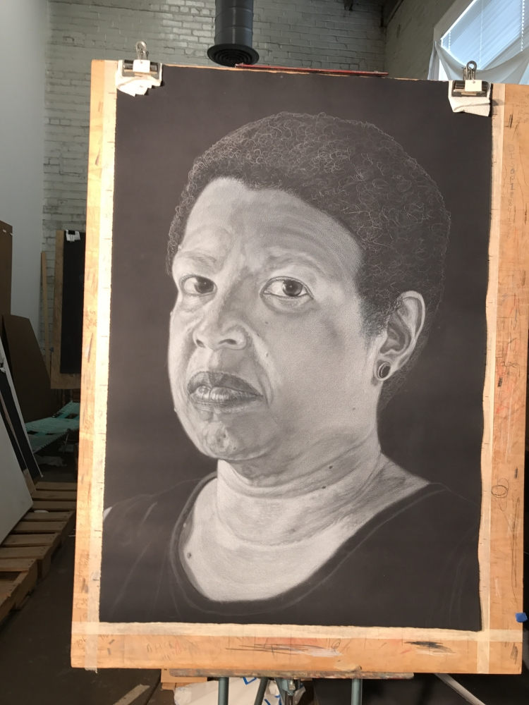 Portrait of Edison's wife Daphne in progress.
