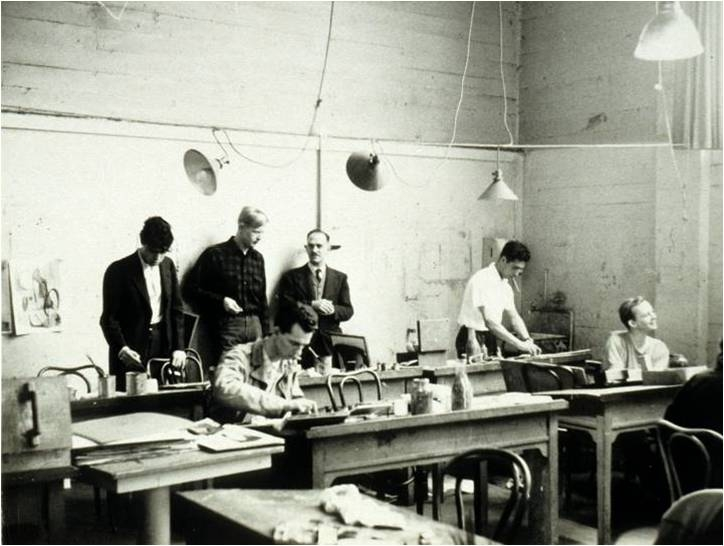 Clay Spohn in the studio with a class, student Jeremy Anderson stands on his right, c. 1948.