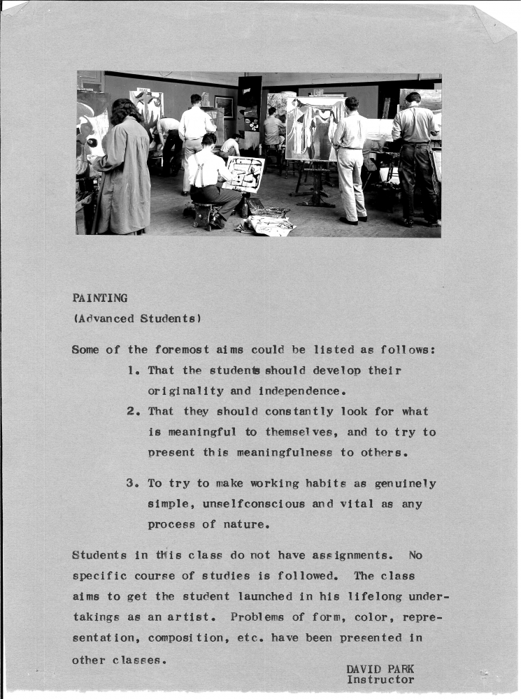Course description of David Park's advanced painting class, c. 1948. Image shows students working in the classroom, Frank Lobdell is possibly the second from right.