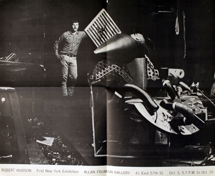 Robert Hudson in the studio, c. 1965, from a poster for his first New York solo exhibition in October, 1965.