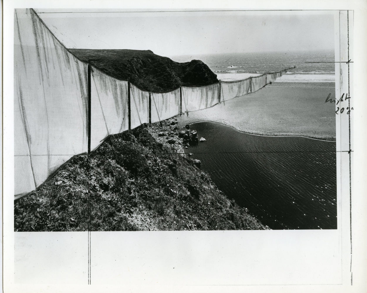"""1973-74 Christo, detail of """"Running Fence (Project for Marin Sonoma County - California)"""""""