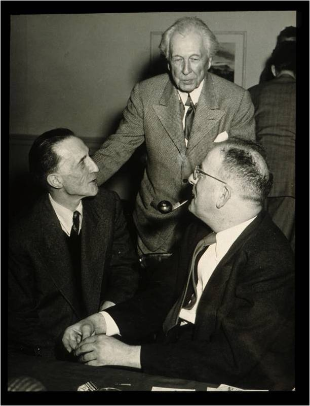In 1949 MacAgy organized the Western Roundtable of Art; pictured are participants, (l-r) Marcel Duchamp, Frank Lloyd Wright, Alfred Frankenstein.