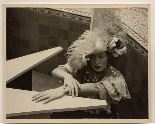 As a student in 1950, Deborah Remington shot a series of costumed self-portraits; here she posing in the CSFA courtyard.