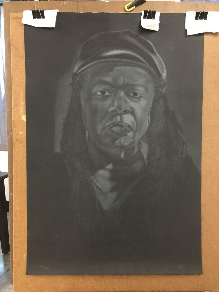 Another self-portrait in progress.