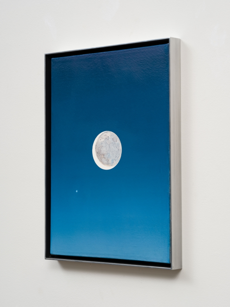 Rob Reynolds  Moon and Jupiter, 2018  Oil, alkyd and acrylic polymer paint on canvas in welded aluminum artist's frame  Framed Dimensions:  16 3/4 x 12 3/4 inches