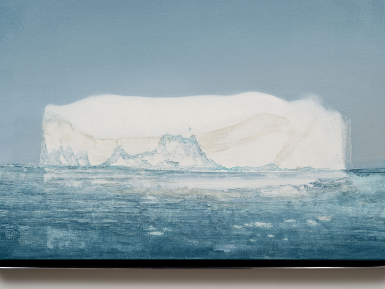 """Rob Reynolds """"Iceberg (Jakobshavn Isbrae 69.1667° N, 49.9167° W Greenland, 21 July, 2019, 5:00 AM)"""", 2021, Oil, alkyd and acrylic polymer paint on canvas in welded aluminum artist's frame, Framed Dimensions: 24 x 30 inches"""