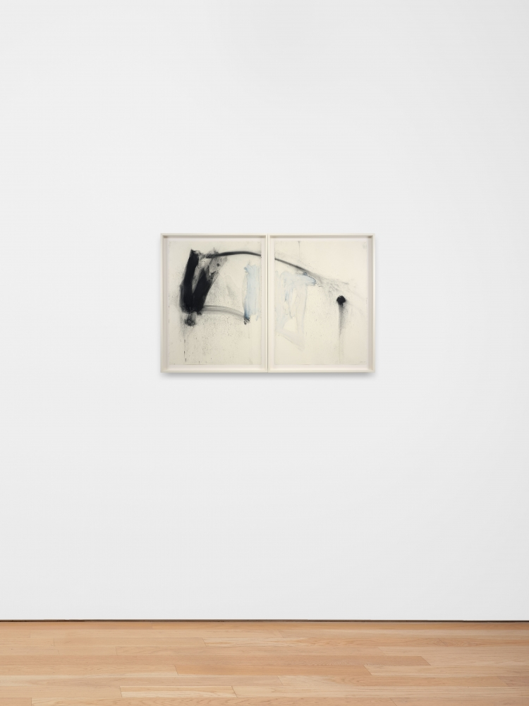 Joseph Havel, Untitled (diptych 2), 2020, Powdered graphite, oil stick, pencil, Diptych, Framed Dimensions: 32 1/2 x 24 7/8 inches (each), 82.55 x 63.18 cm (each)