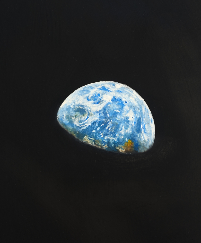 """Rob Reynolds  """"Earthrise 3"""", 2020,  Oil, alkyd and acrylic polymer paint on canvas in welded aluminum artist's frame,  Framed Dimensions:  24 3/4 x 18 3/4 inches  62.9 x 47.6 cm"""