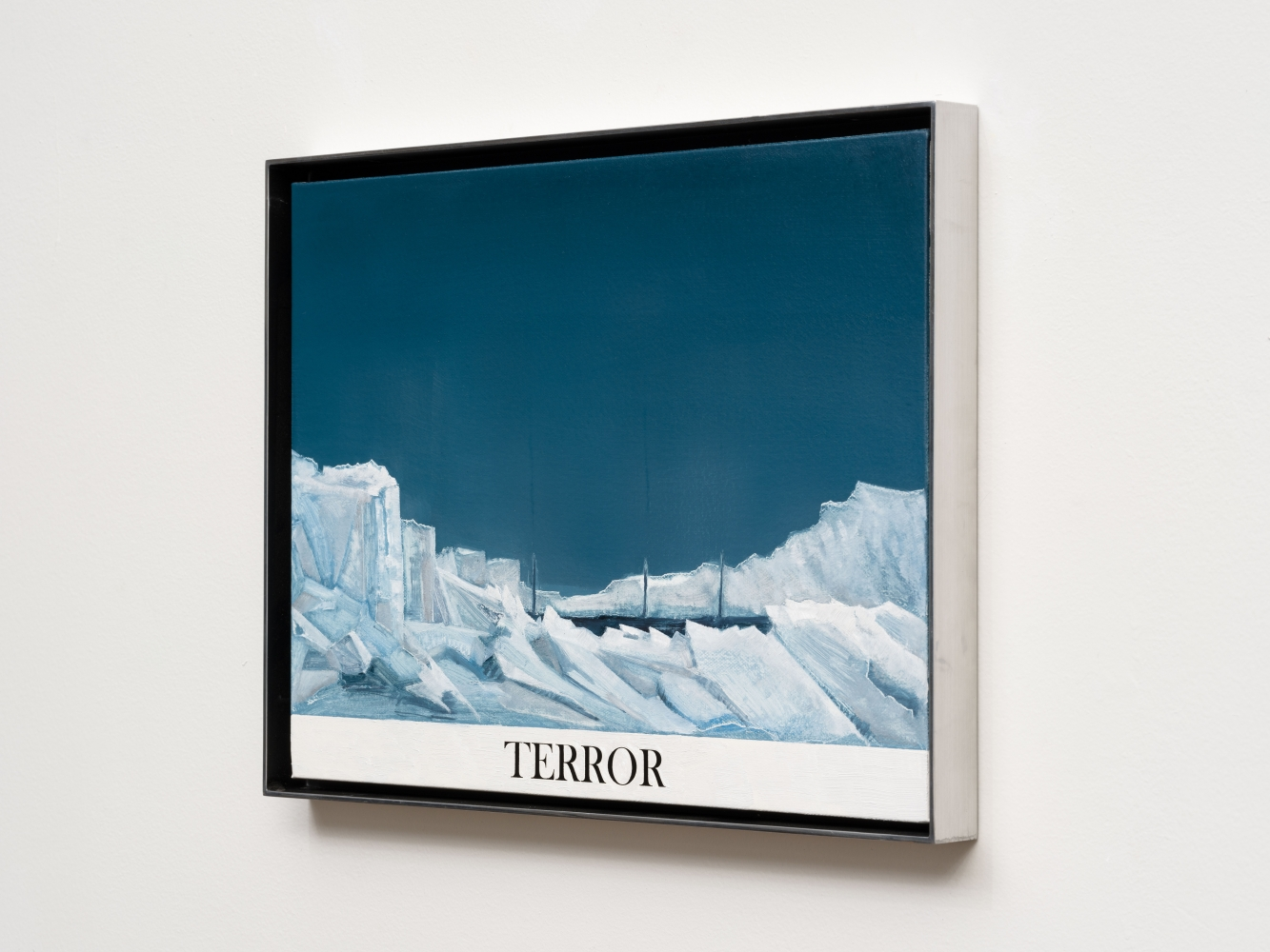 """Rob Reynolds """"Northwest Passage (HMS Terror)"""", 2017, Oil, alkyd and acrylic polymer paint on canvas in welded aluminum artist's frame, Framed Dimensions: 12 3/4 x 16 3/4 inches"""