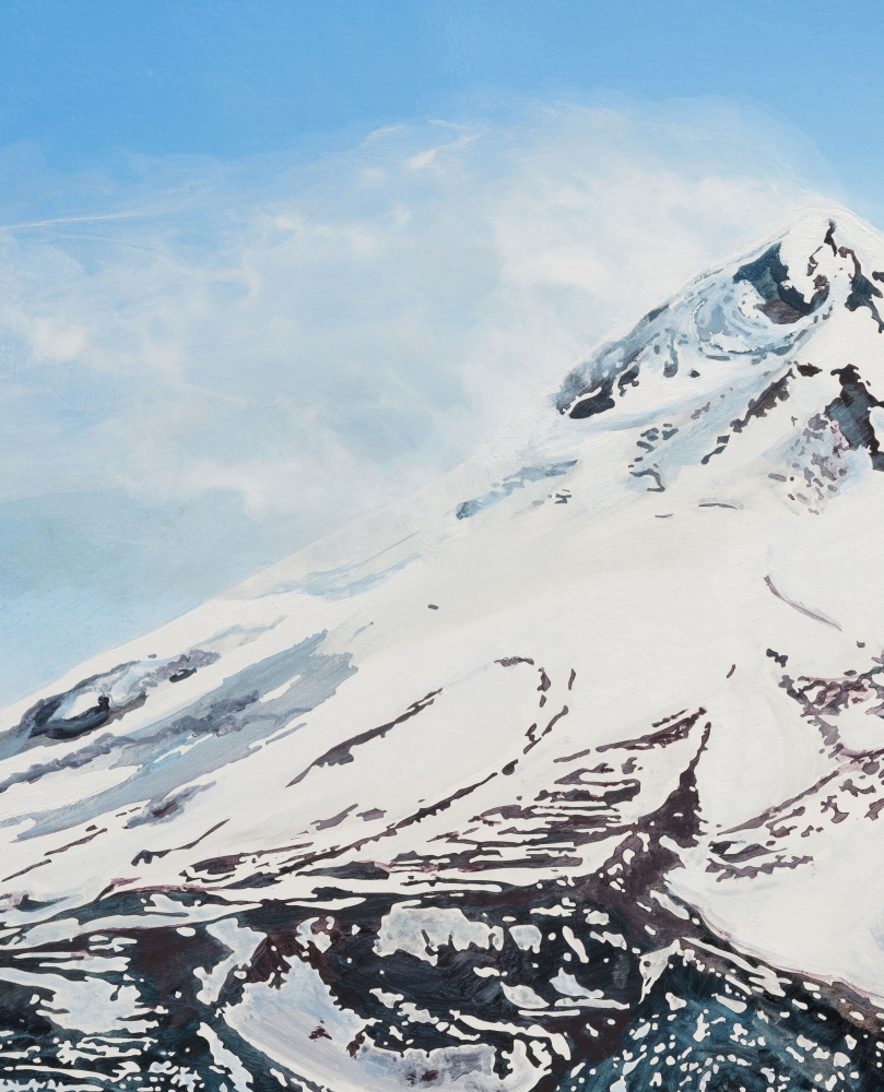 """Rob Reynolds """"Mount Shasta"""", 2021, Oil, alkyd and acrylic polymer paint on canvas in welded aluminum artist's frame, Framed Dimensions: 24 3/4 x 30 3/4 inches"""