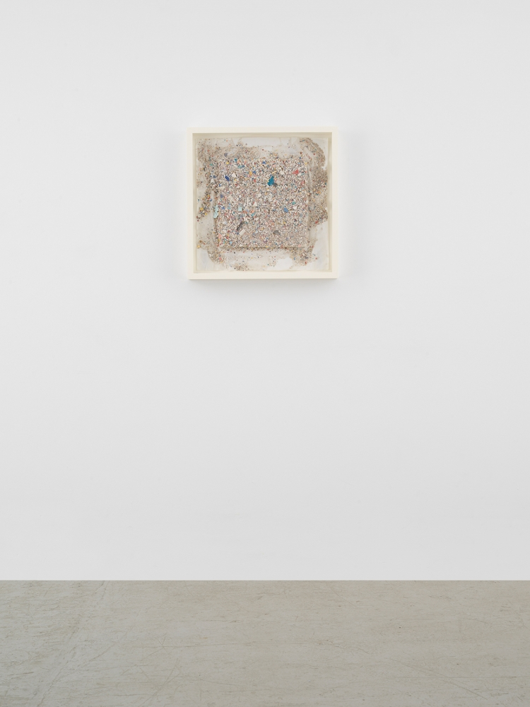 Leonardo Drew Number 89SD, 2021 Plaster and paint on paper 22 7/8 x 22 7/8 x 1 1/2 inches 58.1 x 58.1 x 3.8 cm
