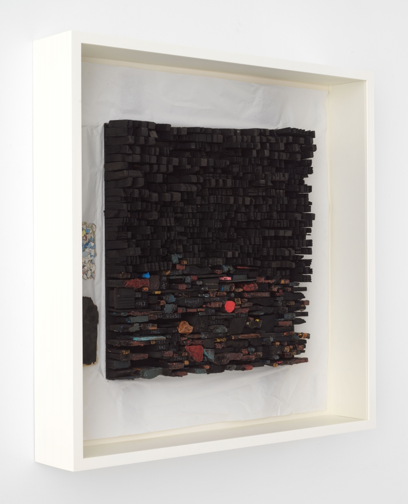 Leonardo Drew Number 95SD, 2021 Wood, plaster and paint on paper 35 x 34 3/4 x 5 1/4 inches 88.9 x 88.3 x 13.3 cm