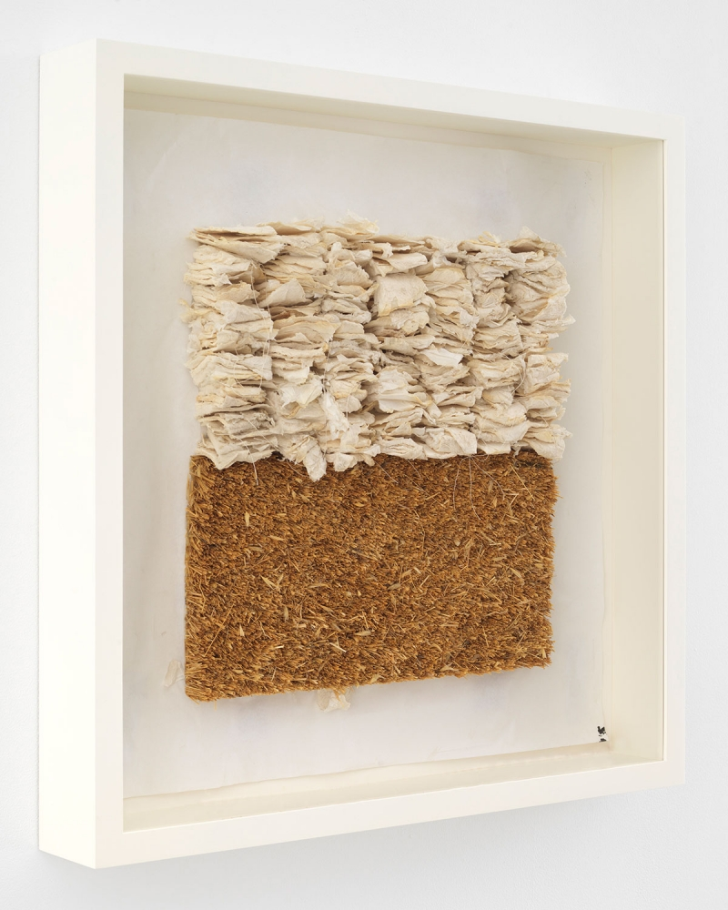 Leonardo Drew Number 93SD, 2021 Cast paper and straw on paper 23 x 23 x 2 1/2 inches 58.4 x 58.4 x 6.4 cm