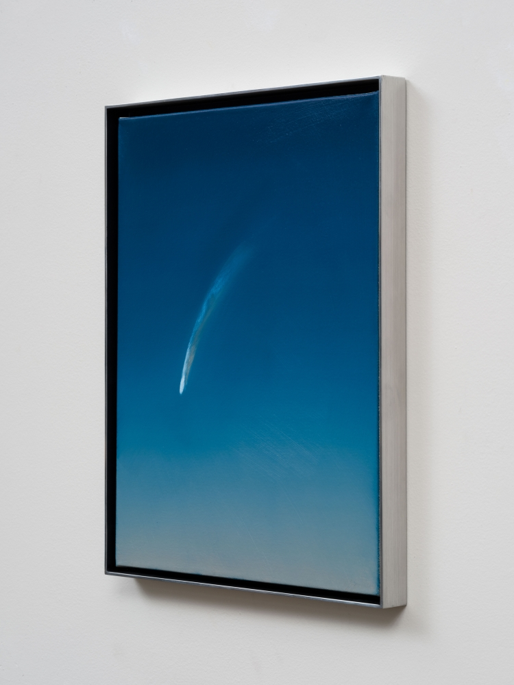"""Rob Reynolds, """"The Great Comet Neowise Over California in 2020"""", 2021, Oil, alkyd and acrylic polymer paint on canvas in welded aluminum artist's frame,Framed Dimensions: 16 3/4 x 12 3/4 inches"""