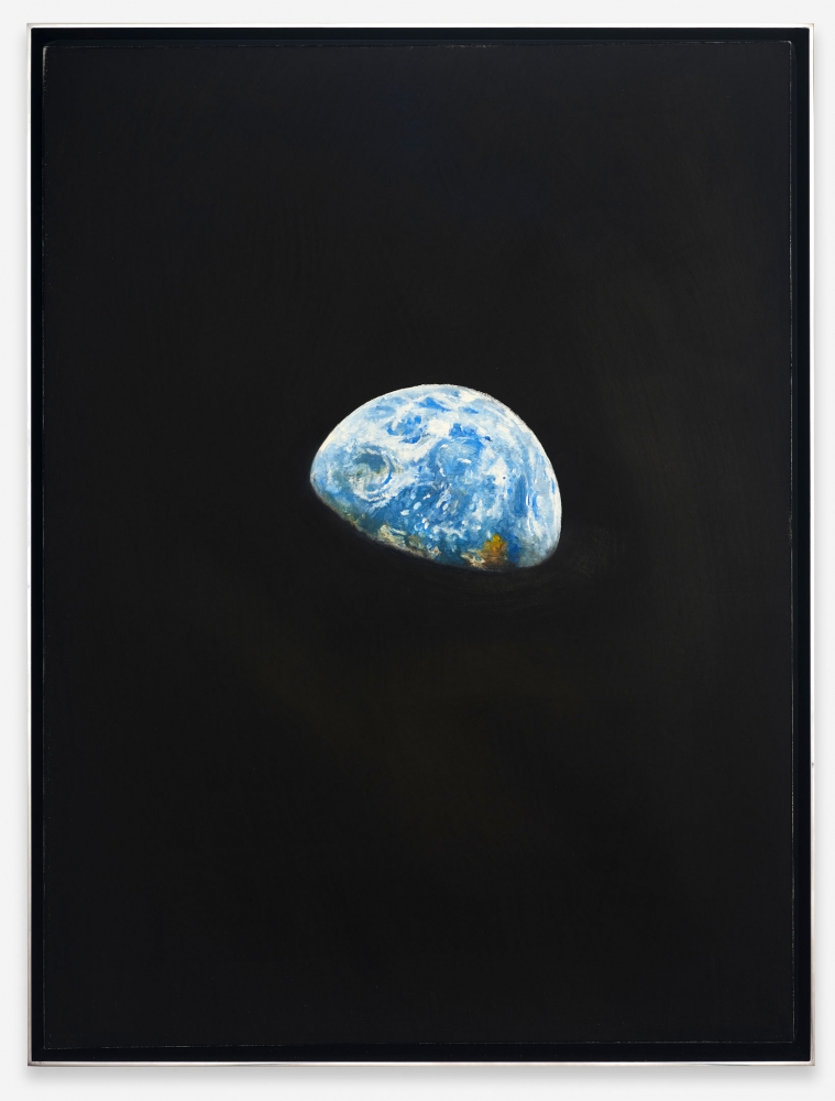 """Rob Reynolds, """"Earthrise 3"""", 2020 Oil, alkyd and acrylic polymer paint on canvas in welded aluminum artist's frame, Framed Dimensions: 24 3/4 x 18 3/4 inches 62.9 x 47.6 cm"""