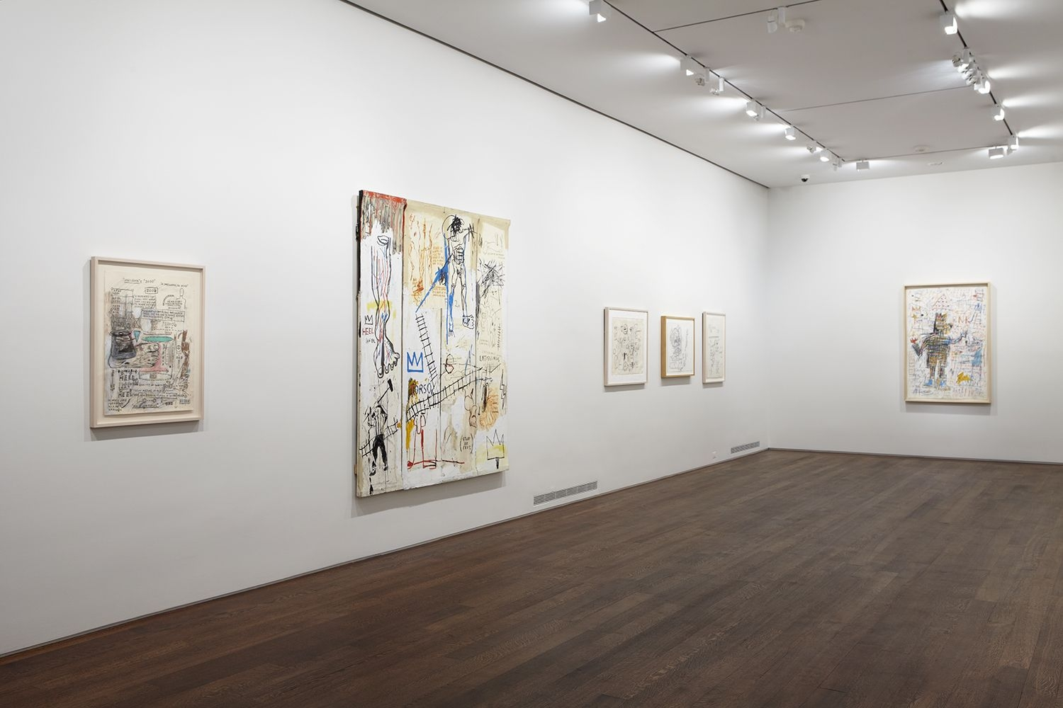 Installation view of Jean-Michel Basquiat Drawing: Work from the Schorr Family Collection, April 30 - June 12, 2014.  © Estate of Jean-Michel Basquiat. Licensed by Artestar, New York.