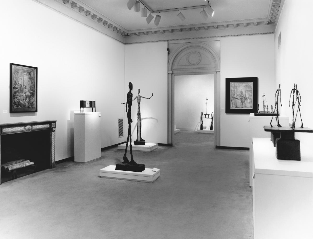 Instllation view of Alberto Giacometti exhibition, fall 1994. Art © Alberto Giacometti Estate / Licensed by VAGA and ARS, New York, NY.