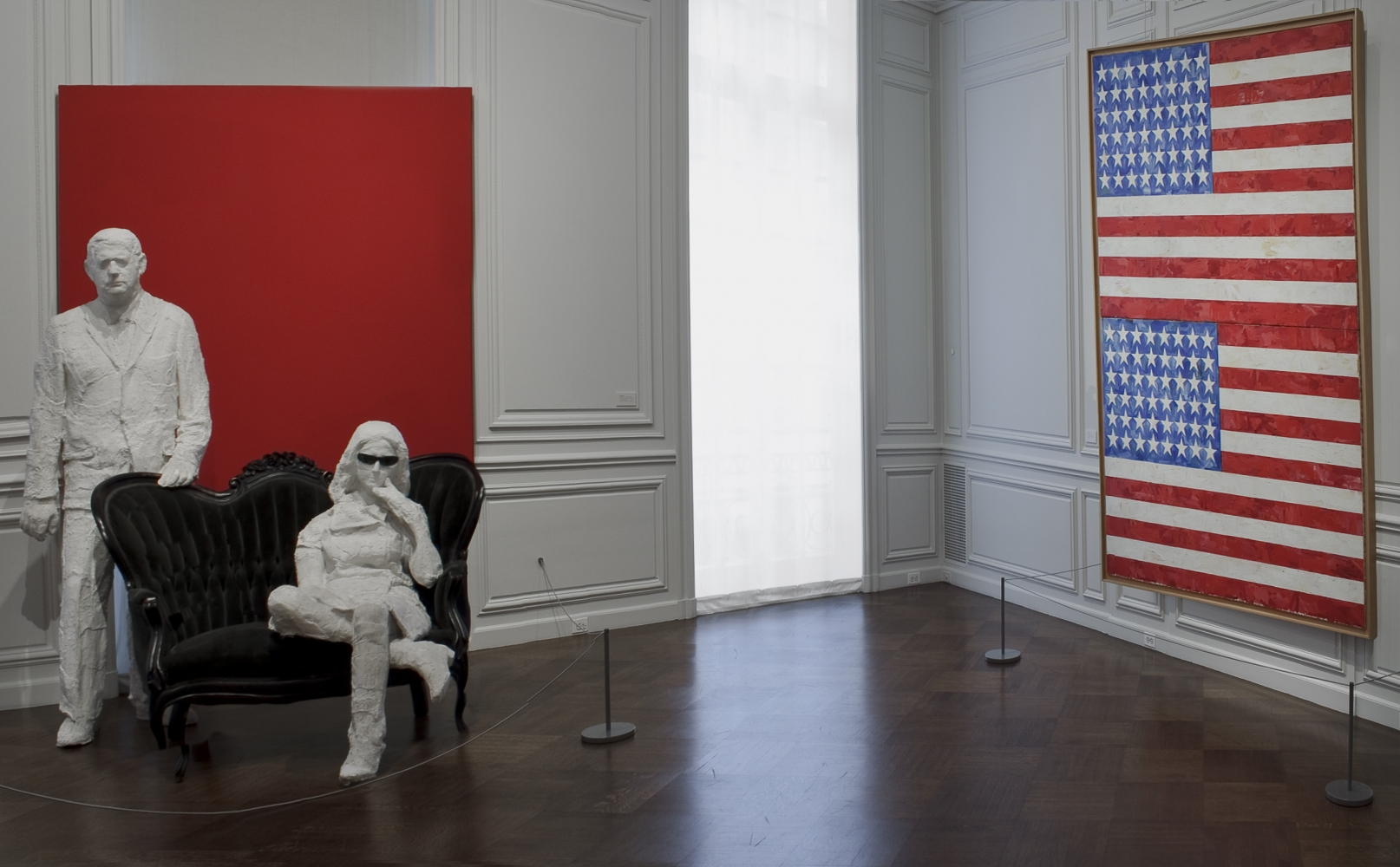 Installation view of Robert & Ethel Scull: Portrait of a Collection, April 12 - May 26, 2010. Art © The George and Helen Segal Foundation / Licensed by VAGA at ARS, New York and © 2021 Jasper Johns / Licensed by VAGA at Artists Rights Society (ARS), New York.