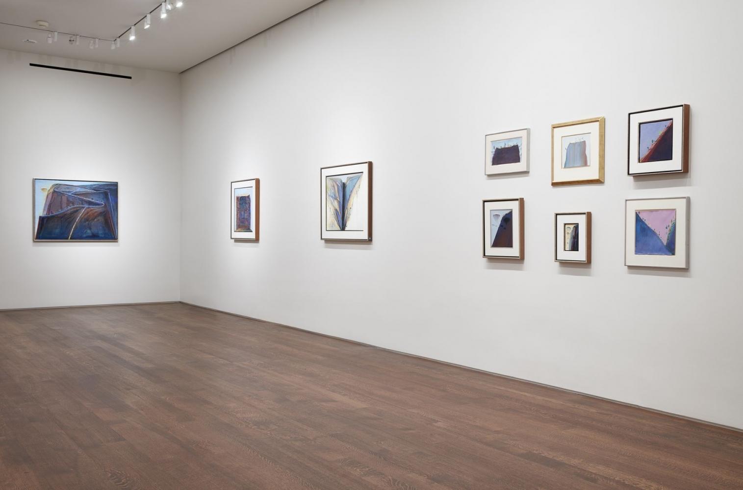 Installation view of Wayne Thiebaud: Mountains, November 5 - December 13, 2019.