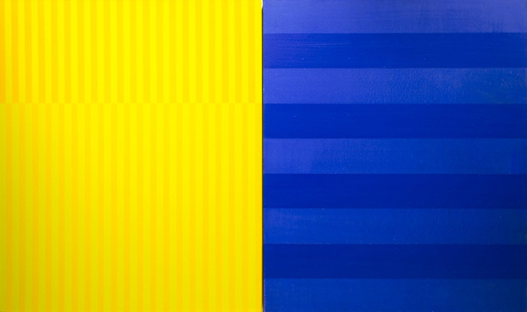 """YELLOW BLUE, 2003 Acrylic on canvas, 32 x 52"""" Private Collection"""