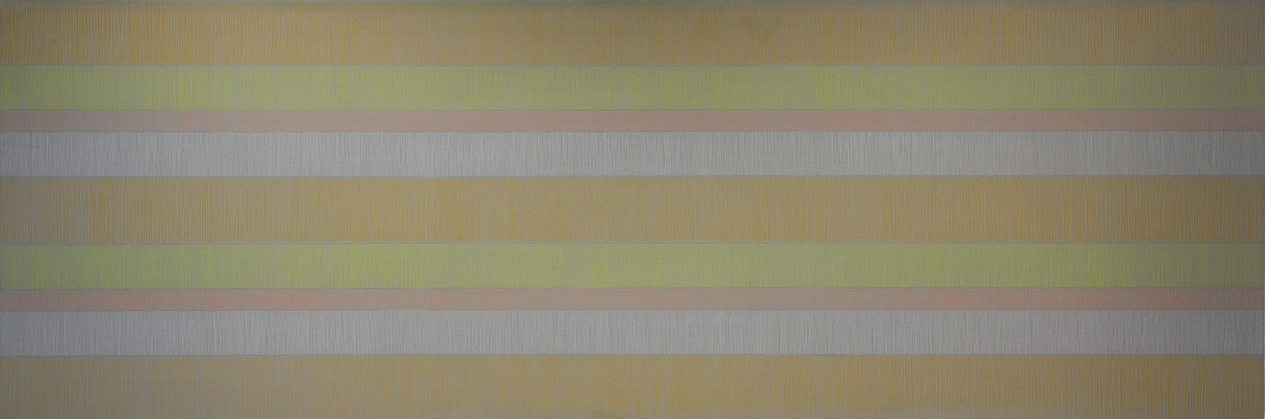 """DRAWING 26-VI-15 2015 Pencil crayon and flashe paint on canvas, 27 x 81""""  Private Collection"""