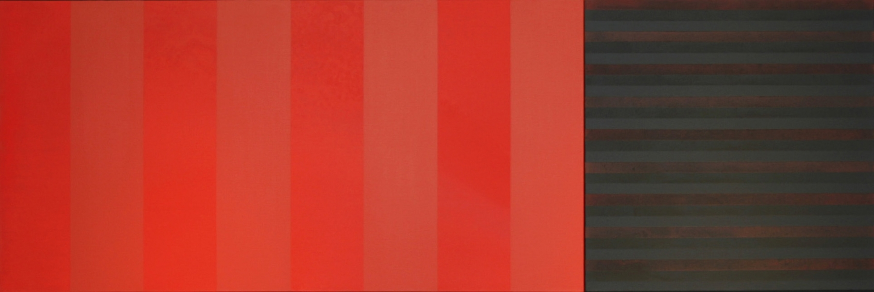 """RED BLACK  2006  Acrylic on canvas,  27 x 81""""  Private collection"""