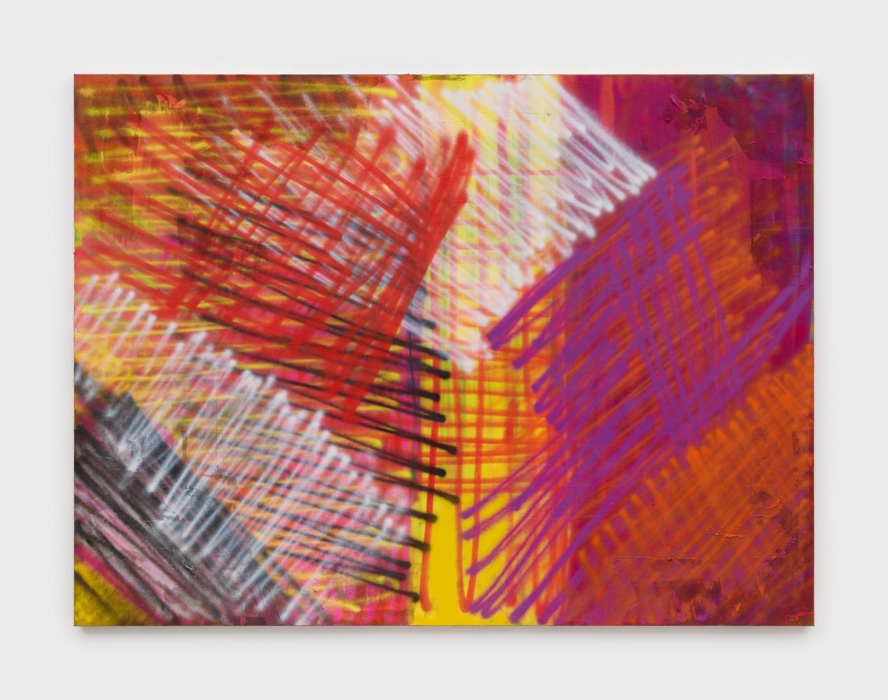 Through the Crest, 2020 Flashe and aerosol spray on canvas 68 x 91 1/2 in (172.7 x 232.4 cm)