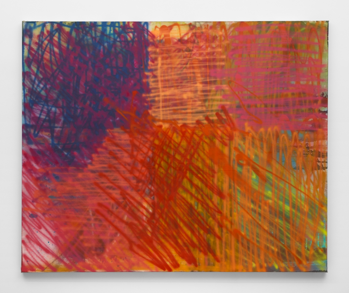 I Can't Be Your 2nd Best, 2020 Flashe, pigment dye, and aerosol spray on canvas 74 x 90 in ( 188 x 228.6 cm)