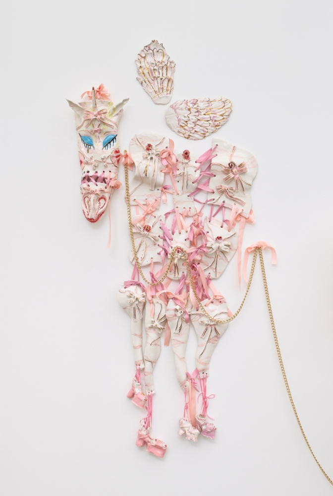 Dora Diamant, 2020 faïence, sugar glaze, gold lustre, gold leaf, ribbons, gold chain Dimensions variable, Overall: 77 x 34 1/2 x 6 1/2 in (195.6 x 87.6 x 16.5 cm)