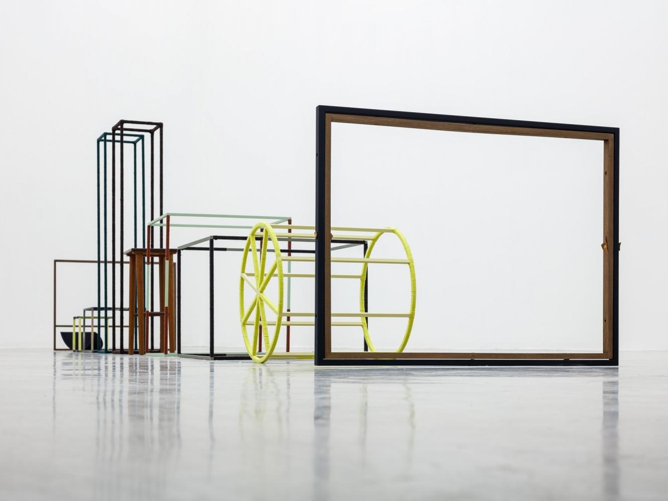 Suki Seokyeong Kang (b.1977)  Pause and Position - Jeong, 2012-2018  Painted steel, thread, wood, table  Dimensions variable