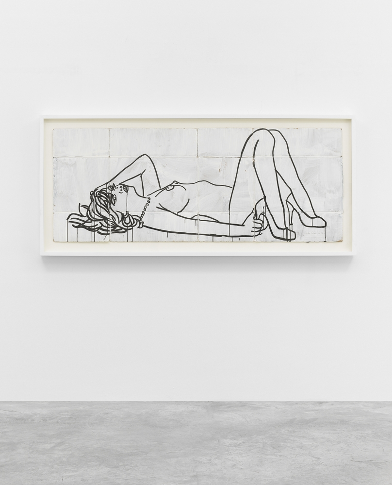 Study for a Broken Box #1 by Ghada Amer, 2017, Acrylic and ink on cardboard, Painting, Tina Kim Gallery