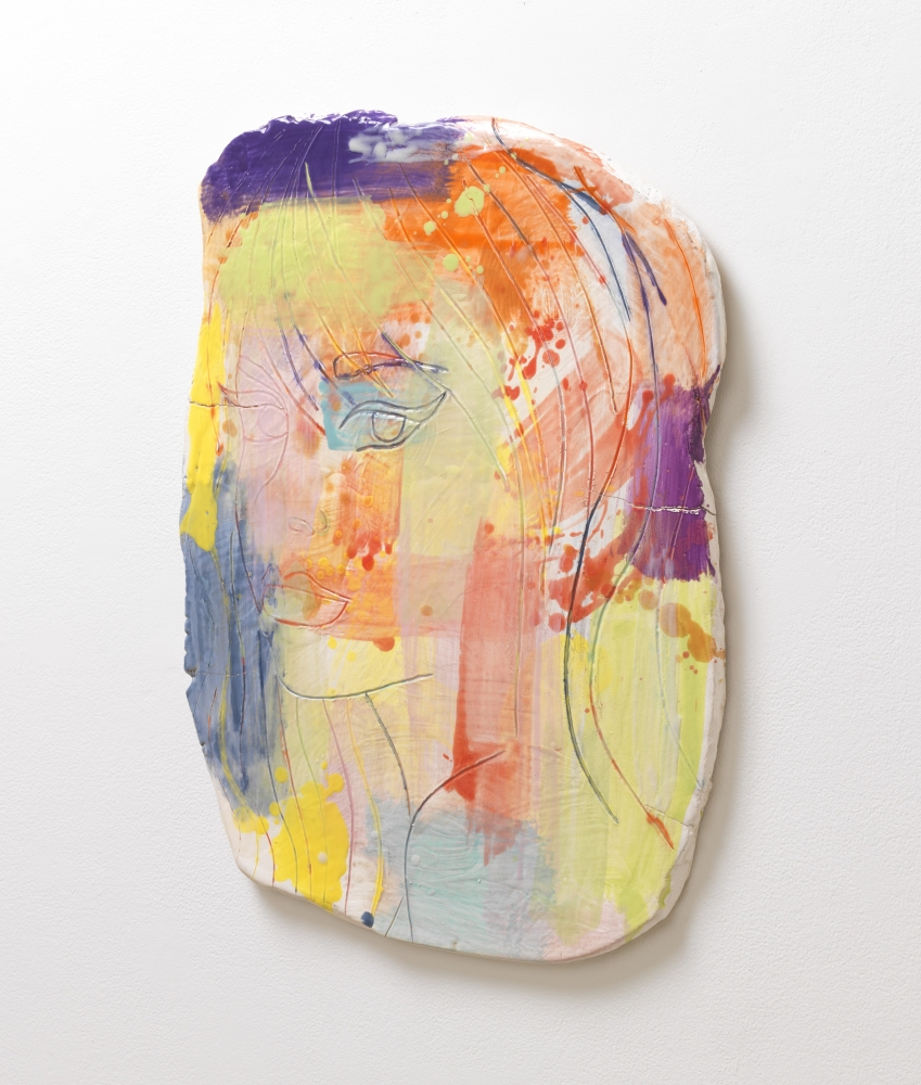 Ghada Amer (b. 1963)  Portrait of a Girl in an Abstract Composition #3, 2014  Glazed stoneware with colored slip and majolica wash  27.25 x 19.75 x 1 inches
