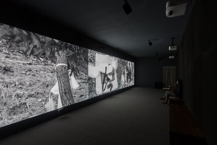 Park Chan-kyong (b.1965) Citizen's Forest, 2016 Three channel black and white video (26 min 6 sec), directional sound Dimensions variable