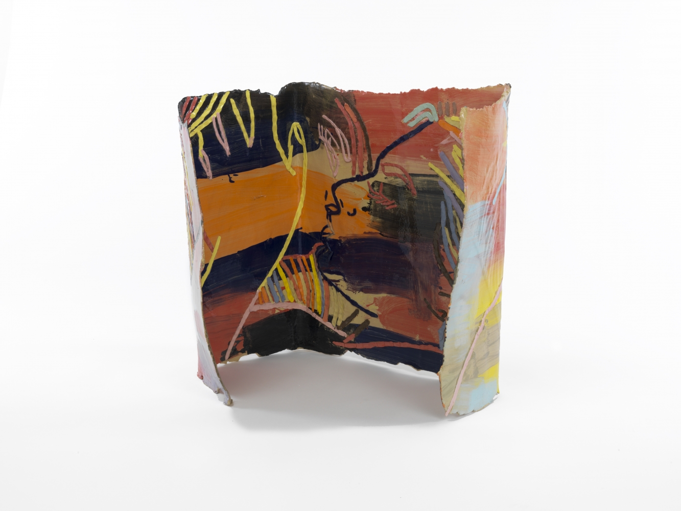 Ghada Amer (b. 1963) Box in Color, 2015 Glazed stoneware with porcelain inlay and porcelain slip 23.5 x 20 x 16 inches 59.7 x 50.8 x 40.6 cm