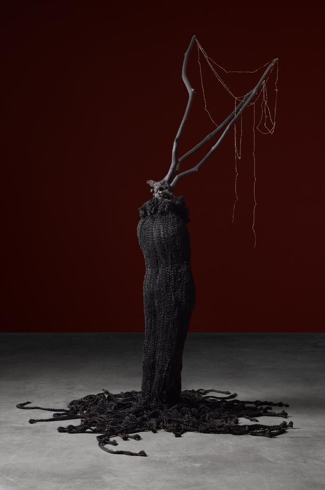 Minouk Lim (b. 1968) Hydra, 2015 FRP mannequin, wood, synthetic hair, fishing cord 94.49 x 55.12 x 49.21 inches 240 x 140 x 125 cm