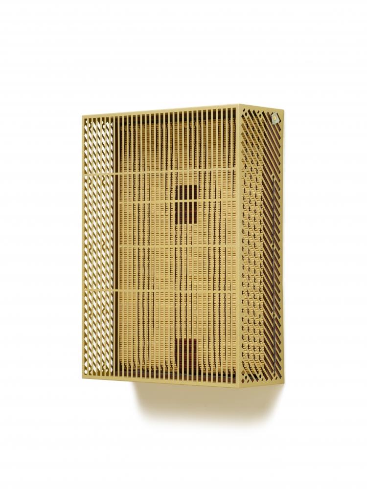 Suki Seokyeong Kang (b.1977) Mat 55 x 40 — Bold #20-19, 2019-2020 Painted steel, woven dyed Hwamunseok, thread, wood frame, brass bolt, leather scraps 22.44 x 16.54 x 6.3 inches 57 x 42 x 16 cm