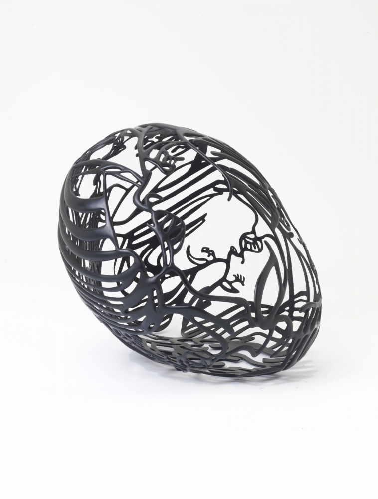 Ghada Amer, Baisers 2, Nickel-plated bronze, black patina, sculpture, Tina Kim Gallery