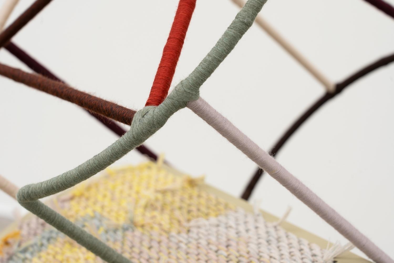 Suki Seokyeong Kang (b.1977) GRANDMOTHER TOWER – tow #21-01, 2021 Painted steel, winding thread, wooden wheels 35.63 x 12.99 x 25.31 inches 90.5 x 33 x 64.3 cm