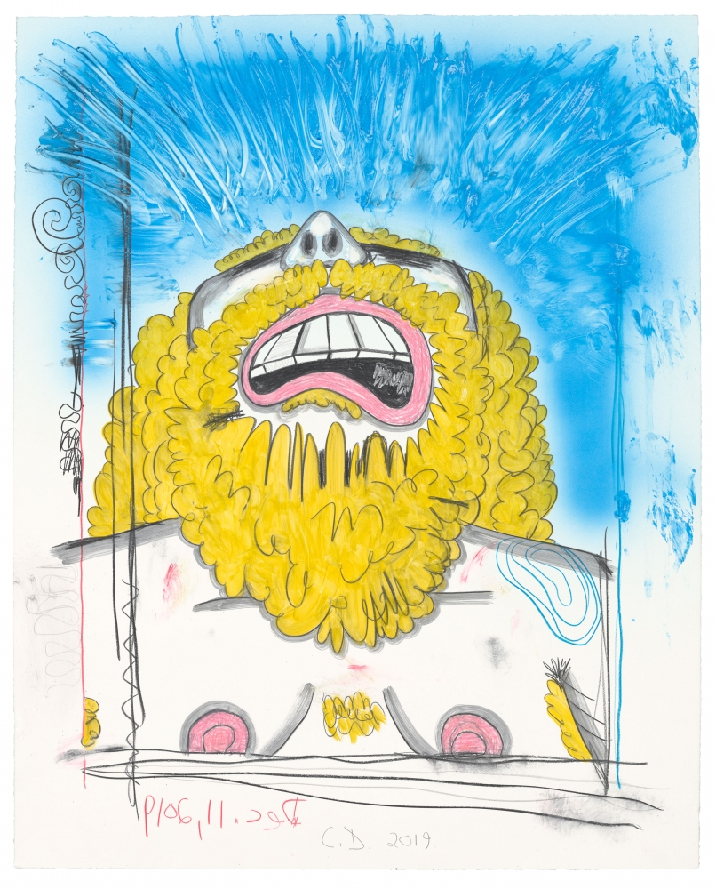 Carroll Dunham WrestlersUntitled, 6/28/19, 2019 Monotype in watercolor, watercolor pencil and watercolor crayon Image Dimensions: 22 x 27inches 55.9 x 68.6cm