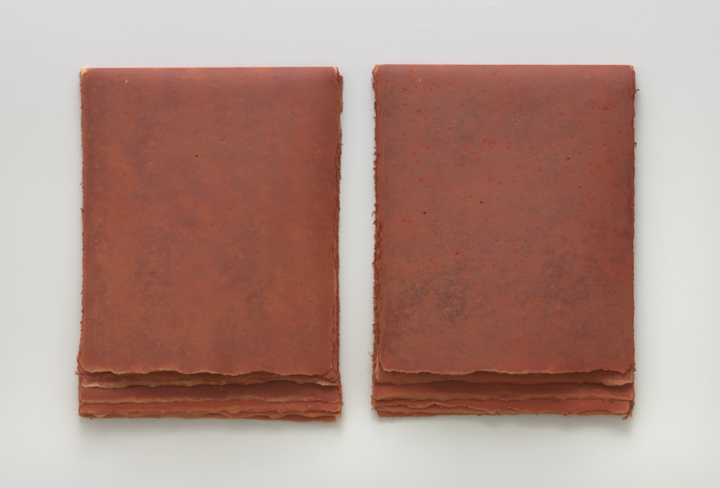 Strata Series: Durango, 1979-80  Earth from site on muslin mounted rag paper Two parts, 24 1/2 x 18 inches, each. 24 1/2 x 36 inches, overall. 8 layers, each part