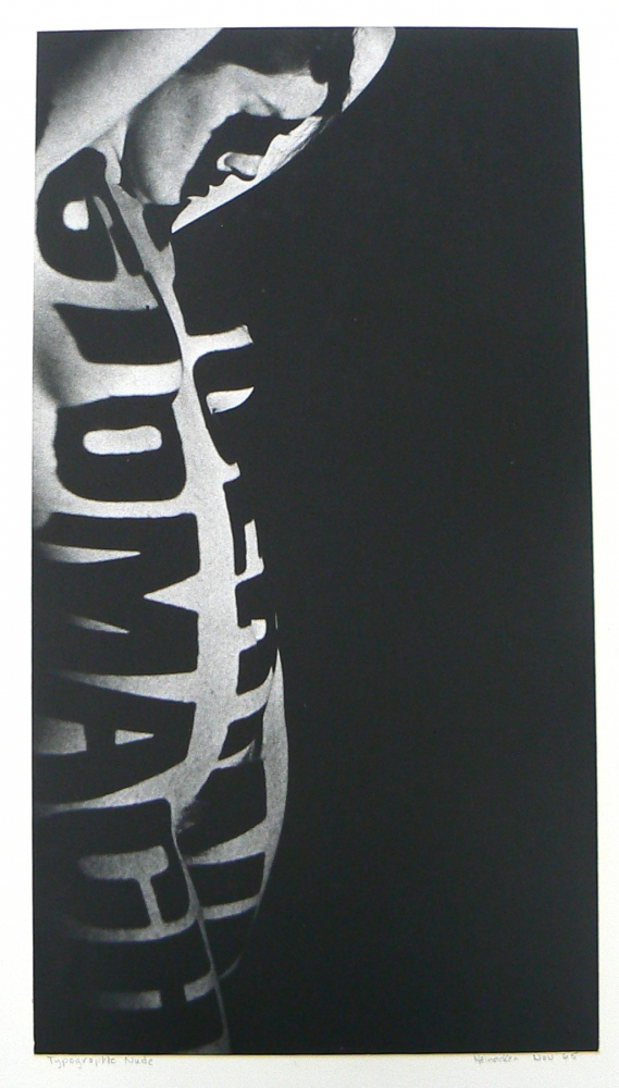 Typographic Nude, 1965  Silver gelatin print  14 3/4 x 7 inches