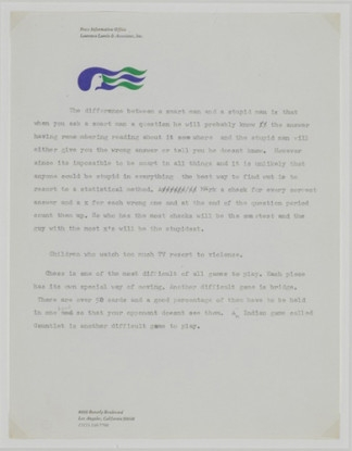 """Untitled (""""The difference between a smart man and a stupid man...""""), 1970-71"""