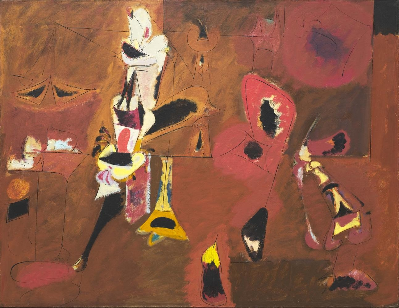 Arshile Gorky Agony 1947 oil on canvas 40 x 50 1/2 inches (101.6 x 128.3 cm)  The Museum of Modern Art, New YorkAlexander Calder  Untitled  c. 1952  sheet metal, wire, and paint  58 x 71 inches (147.3 x 180.3 cm)  Calder Foundation, New York