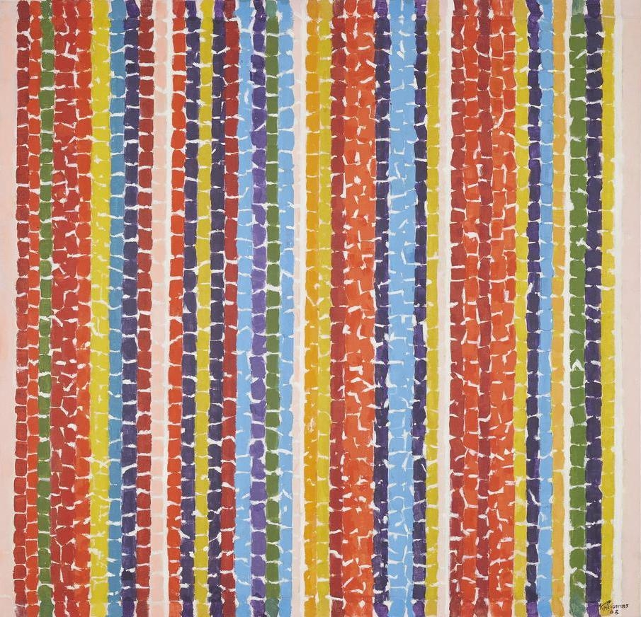 Alma Thomas Nature's Red Impressions 1968 acrylic on canvas 51 x 49 1/2 inches (129.5 x 125.7 cm)