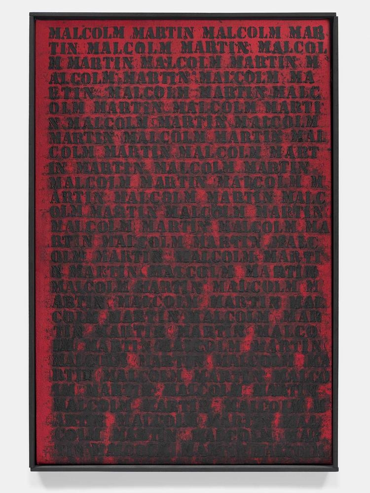 Glenn Ligon Deferred (Malcolm / Martin) 1991 oil and acrylic on canvas 31 x 20 3/4 inches (78.7 x 52.7 cm)  Courtesy The Brant Foundation, Greenwich, CT