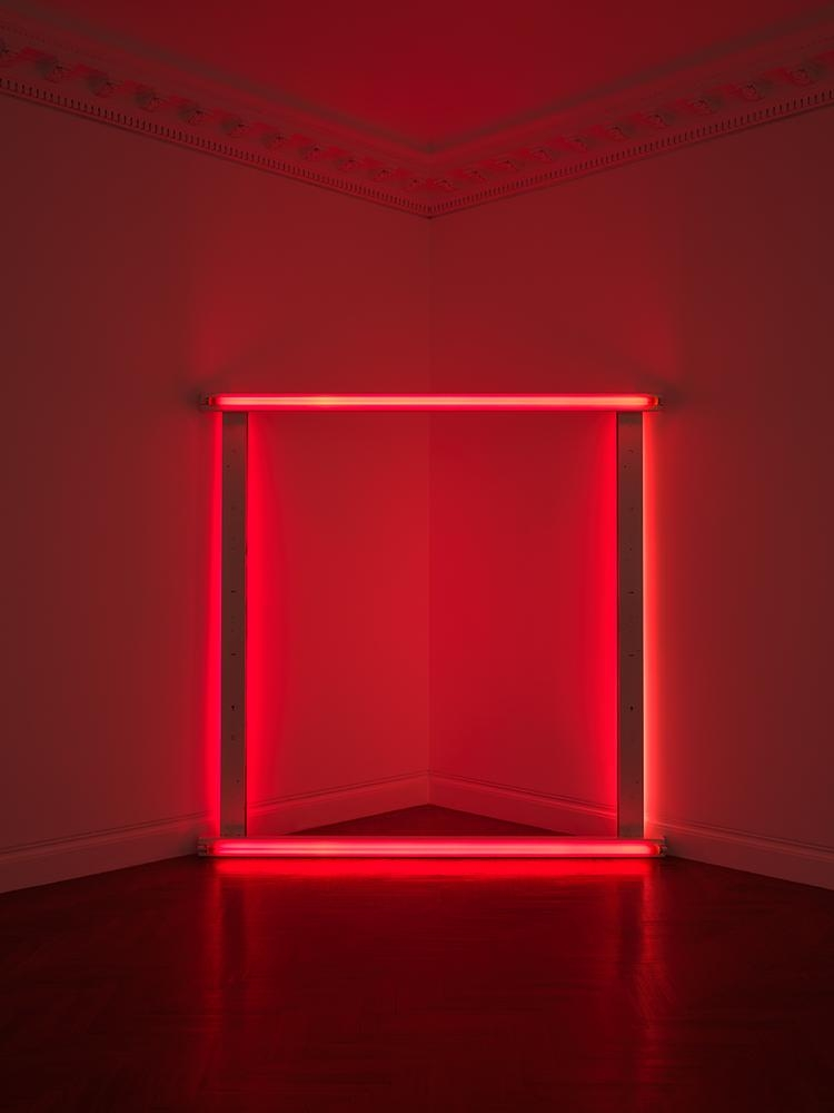 Dan Flavin untitled (to Sabine and Holger) 1966-71 red fluorescent light 96 x 96 x 5 inches (243.8 x 243.8 x 12.7 cm)  Private collection