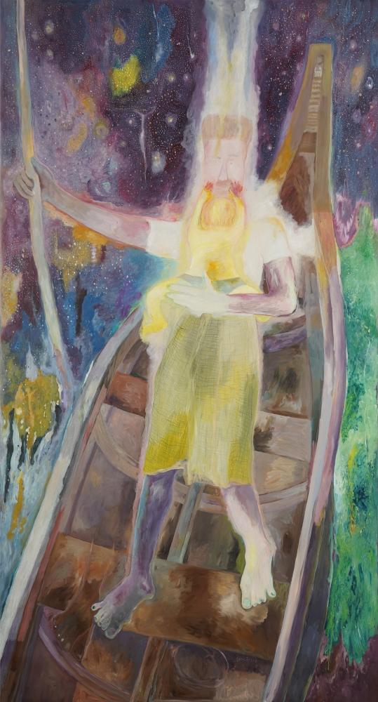 SOSA JOSEPH, Ferryman and his Jaundiced Child, 2019, oil on canvas, 107.2 x 57.8 in / 272.5 x 147 cm