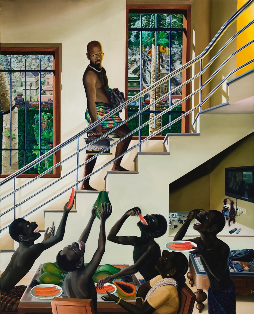 RATHEESH T.   The Middle Step, 2014  Oil on canvas  96 x 77.9 in /  244 x 198 cm  Collection: Fukuoka Asian Art Museum, Japan